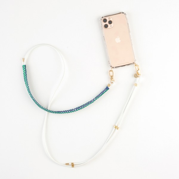 zoey exclusive | WHITE LEATHER | MACRAME | PHONE NECKLACE & CASE
