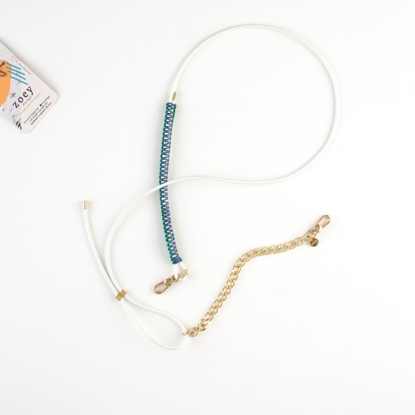 zoey exclusive | WHITE LEATHER | MACRAME & CHAIN | PHONE NECKLACE