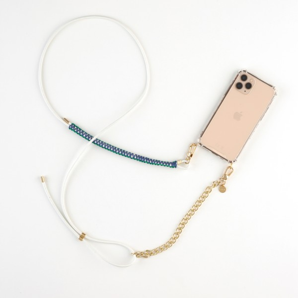zoey exclusive | WHITE LEATHER | MACRAME & CHAIN | PHONE NECKLACE & CASE