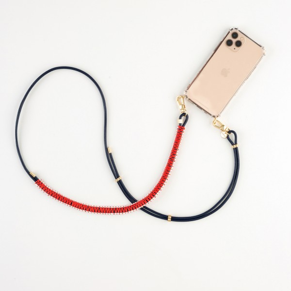 zoey exclusive | NAVY BLUE LEATHER | MACRAME | PHONE NECKLACE & CASE