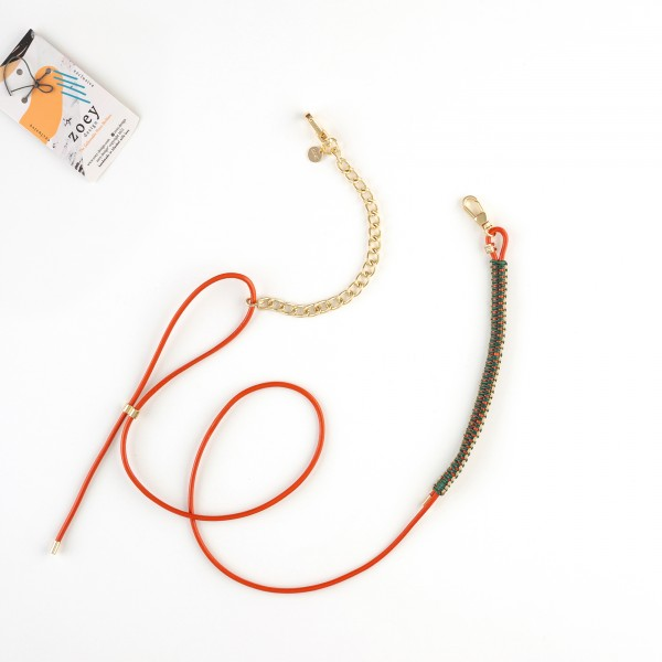 zoey exclusive | ORANGE LEATHER | MACRAME & CHAIN | PHONE NECKLACE