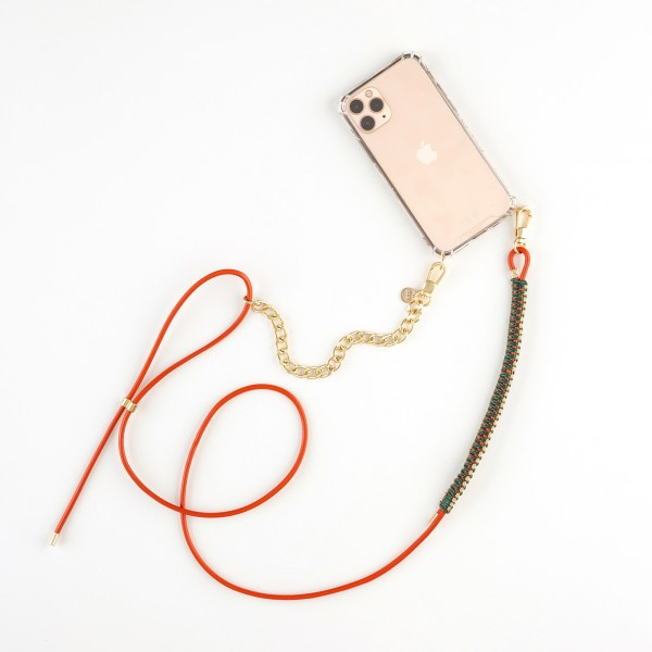 zoey exclusive | ORANGE LEATHER | MACRAME & CHAIN | PHONE NECKLACE & CASE