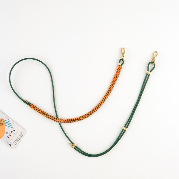 zoey exclusive | GREEEN LEATHER | MACRAME | PHONE NECKLACE