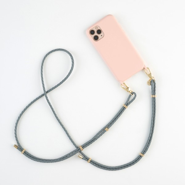 zoey exclusive - GREY LEATHER & HOOK - PHONE NECKLACE & CASE