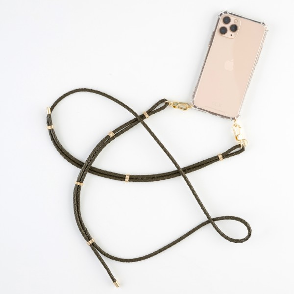 zoey exclusive | KHAKI LEATHER & HOOK | PHONE NECKLACE & CASE
