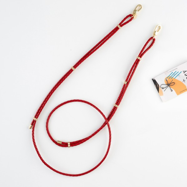 zoey exclusive | RED LEATHER & HOOK | PHONE NECKLACE