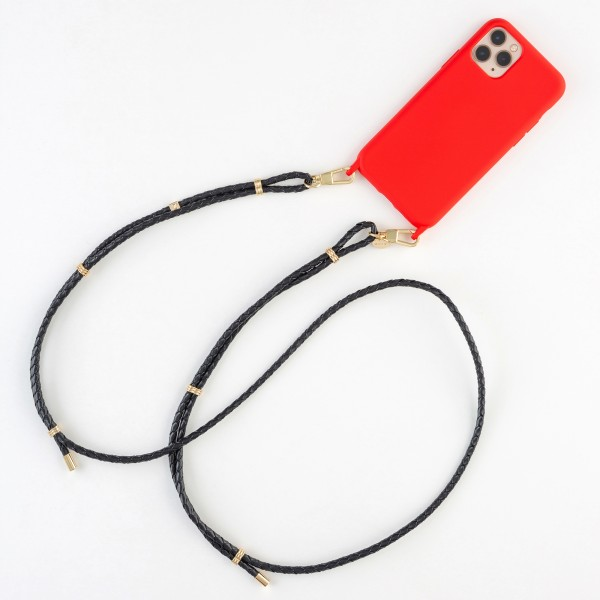 zoey exclusive   NAVY BLUE LEATHER & HOOK   PHONE NECKLACE & CASE