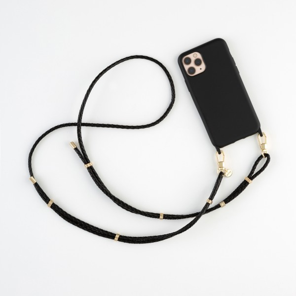zoey exclusive | BLACK LEATHER & HOOK | PHONE NECKLACE & CASE