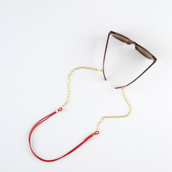 zoey exclusive | RED LEATHER | CHAIN | GLASSES CHAIN