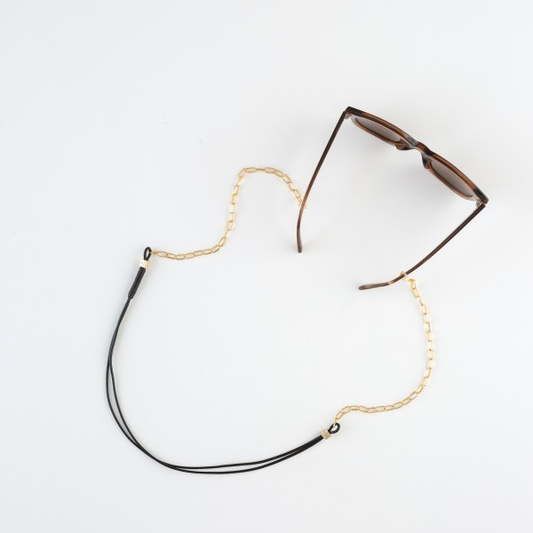zoey exclusive | BLACK LEATHER | CHAIN | GLASSES CHAIN
