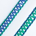 zoey exclusive | WHITE LEATHER | GREEN & BLUE THREAD | MACRAME | KEY CHAIN