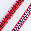 zoey exclusive | NAVY BLUE LEATHER | PINK & RED THREAD | MACRAME | KEY CHAIN